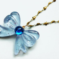 Sailor Moon Inspired Blue Bow Jewel Necklace with Gold Moon and Stars Chain Sailor Mercury