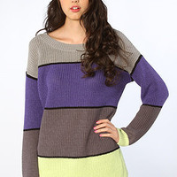 The Dressler Striped Tunic Sweater in Heather Moonraker