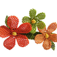 Colorful crochet hair clip, orange, apple green, red hair accessory, tangerine, lime color, bright red, lace flower barrette, boho, hawaiian