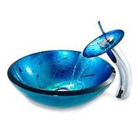 Kraus Galaxy Fire-Blue Vessel Sink and Waterfall Faucet at www.VanitiesFunStore.com