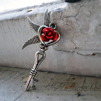 Love Takes Flight -- Antique Silver Key Pendant