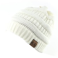 Trendy Warm Chunky Soft Stretch Cable Knit Slouchy Beanie Skully HAT20A,One Size,Ivory