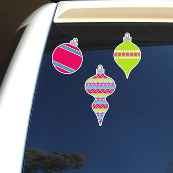 Set of 3 Christmas Ornaments Car Stickers - Holiday Vinyl Car Laptop Decal Decoration Festive Colorful Cute Christmas Ornaments Wall Decal