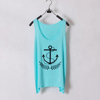 Anchor - Women Tank Top - White- Sides Straight