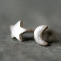 Tiny Moon and Star Stud Earrings in Sterling Silver