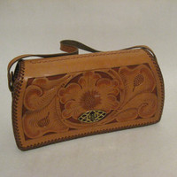 Vintage Flower Leather Purse