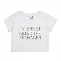 Internet Killed The Teenager Crop Top-Female Snow T-Shirt