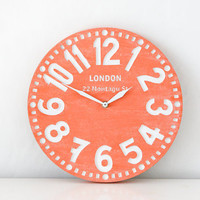 Vintage clock -London coral- pseudo vintage birch clock hand painted by happy fresh coral color blackboard style