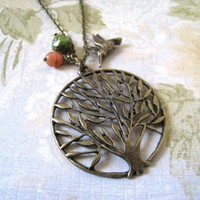 Tree and Hummingbird Necklace