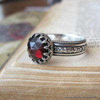 Sterling Silver Medieval Rose Cut Garnet Ring by jorgensenstudio
