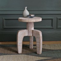 White Wood Stool Side Table | west elm
