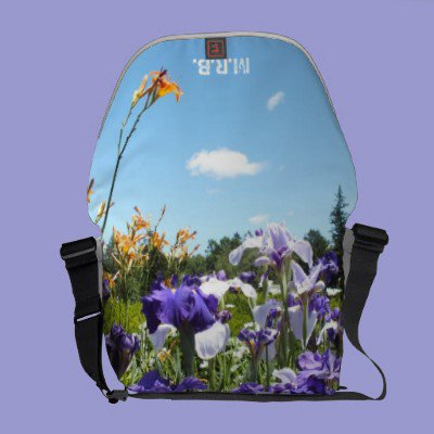 Purple Irises N Blue Sky Messenger Bag *Monogram* from Zazzle.com