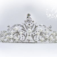 Gorgeous Rhinestone Crystal Pearl Crown Paisley Style Bridal Wedding Tiara Crown