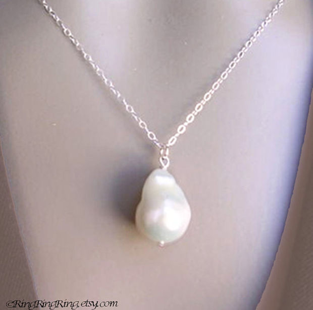 Extra Large Baroque Natural White Genuine Pearl on 925 Sterling silver necklace.