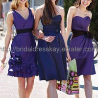 Short Blue V-nekcline Bridesmaid Dress,Dresses Evening 2012,Girls Party Dress