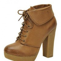 Tan LACE UP BOOTIE WITH COLLAR @ KiwiLook fashion