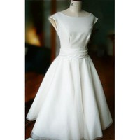 Audery Hepburn Style 1950s Vintage Satin Organza Wedding Dress - Star Bridal Apparel