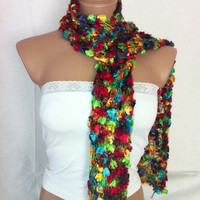 Hand knitted colorful elegant scarf