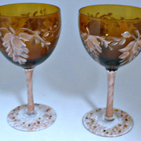 Hand painted amber wine glasses with fuchsia leaf
