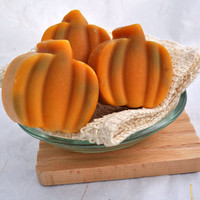 Organic Goat Milk Soap, 3 Pumpkin Shaped Cold Process Soaps