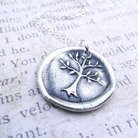 Tree of Life wax seal pendant jewelry made from fine silver