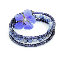 Beaded bracelet - stacking bangles - 3 coils of denim blue lapis stone and glass beads