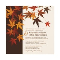 Autumn Wedding Invite With Falling Leaves from Zazzle.com