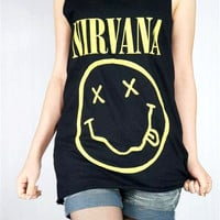 NIRVANA Kurt Cobain Ciggy Alternative Rock Grunge Rock Nevermind Black Shirt Women Tunic Top Sleeveless Tank Top Shirt Rock T-Shirt Size M