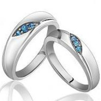 925 Sterling Silver Blue Crystals Engraving Couple Ring