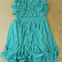 Gathered Ruffles Party Dress [3216] - $36.00 : Vintage Inspired Clothing &amp; Affordable Summer Dresses, deloom | Modern. Vintage. Crafted.
