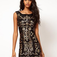 Lipsy Crinkle Foil Bodycon Dress at asos.com