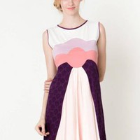 Sleeveless Purple and Pink Colorblock Dress