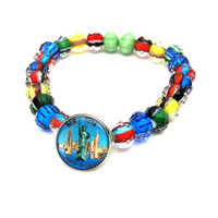 New York Stretch Bracelet with multicolor beads