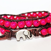 Elephant Bracelet, Leather Beaded Wrap Bracelet 2x, Elephant Jewelry, Dark Pink Fossil Stone, Boho Chic, Lucky Jewelry