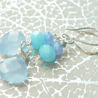 Oceana--  Silver plated earrings with Czech glass and Robin egg briolette