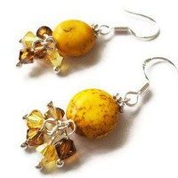 Handmade Gifts Bamboo Earrings Yellow Howlite Crystals Sterling Silver