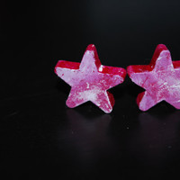 Star Violet and White  Abstract Wood Stud Earrings ooak