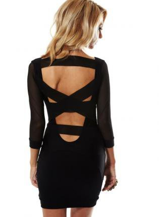 Black Mesh Cutout Strap Bodycon Dress with 3/4 Sleeves