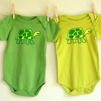 Hero in a Half Shell - Organic Cotton - 12 - 18 mo. green turtle screenprint onepiece