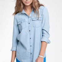 Rubbish® Chambray Shirt (Juniors) | Nordstrom