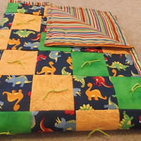 Orange and Green Dinosaur Quilt