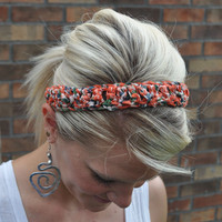 Crocheted Hippie Headband Batik Fabric