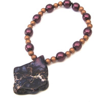 Purple Jasper Stretch Bracelet with Czech Glass Pearls and Antique Copper Beads