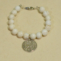 Chunky White Turquoise Bangle w/ Silver Coin Charm - White Beaded Bangle Bracelet with Detailed Silver Coin Charm