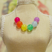 Rainbow Jade Glass Necklace - Pink, Orange, Yellow, Green, Blue & Purple Beaded Necklace w/ Dainty Silver Chain
