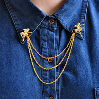 Collar Brooch - Golden Ballerinas with Chain