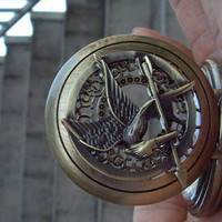 The Hunger Games Logo Mockingjay pendant Golden dial big size Pocket Watch locket Necklace