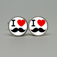 Silver Cuff Links with I Love Moustache