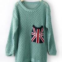Green Long Sleeve Union Jack Pocket Open Stitch Jumper$37.00