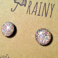 Pink/Silver/Holographic Glitter Post Earrings
